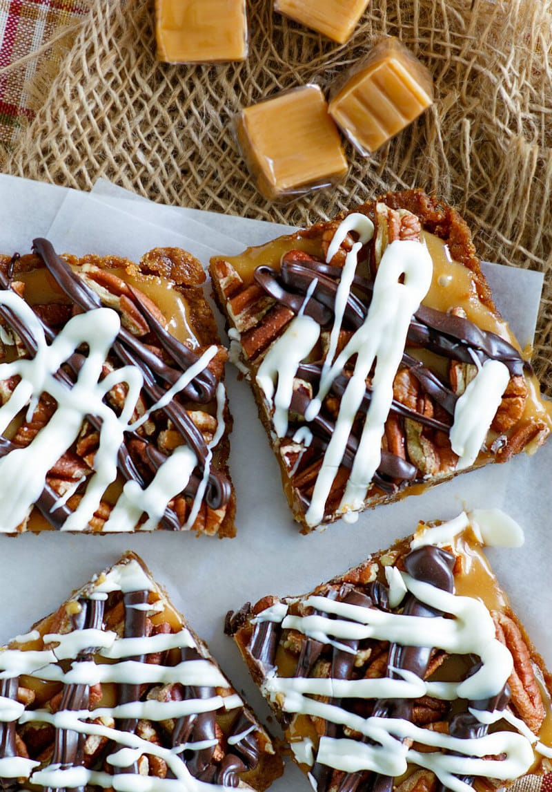 Caramel Pecan Bars with Chocolate Drizzle