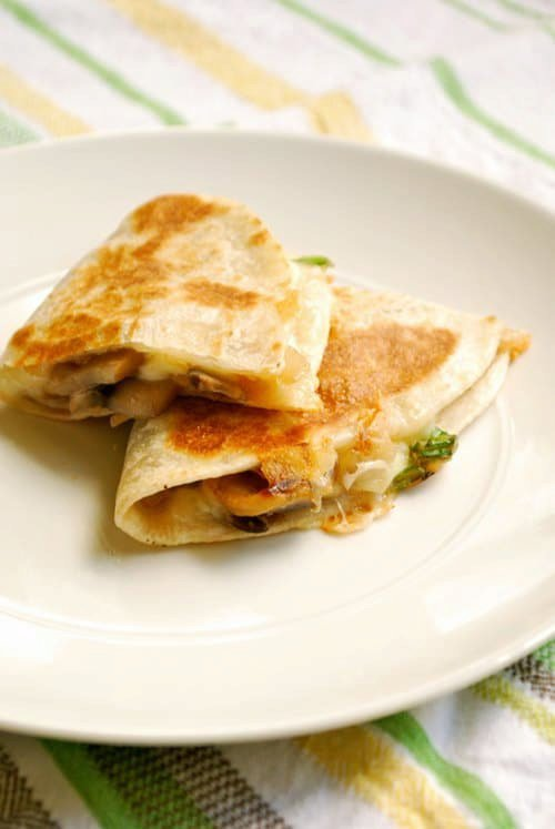 Spinach, Mushroom and Jack Quesadillas