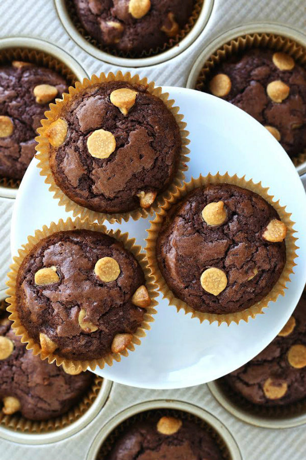 Peanut Butter Chip Brownie Cupcakes