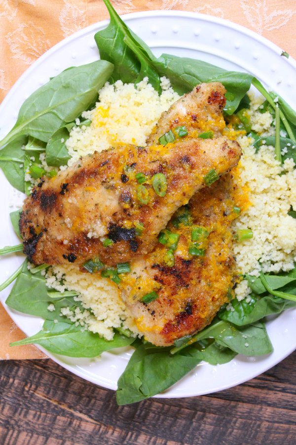 Orange Scallion Chicken with Spinach and Couscous