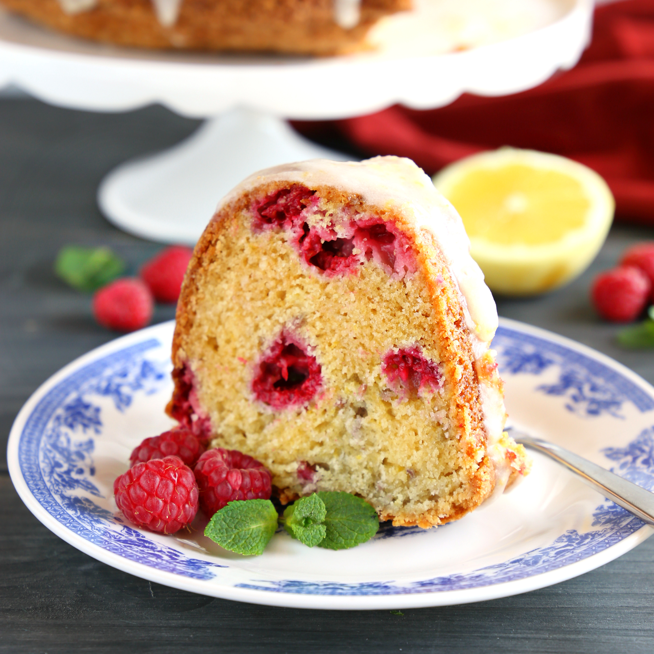 Lemon Raspberry Glazed Bundt Cake