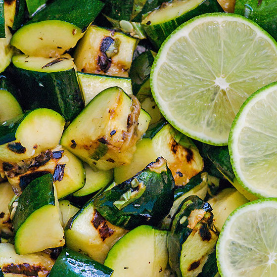 Lime Basil Grilled Zucchini