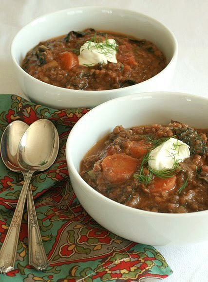 Lentil, Carrot, and Kale Soup with Creme Fraiche and Dill