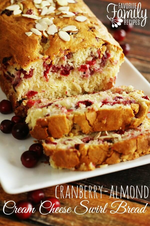 Cranberry Almond Bread with Cream Cheese Swirl