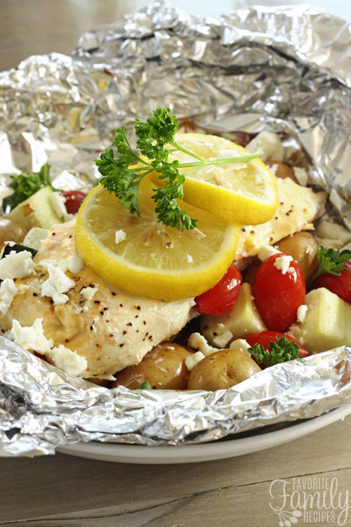 Greek Lemon Chicken Foil Packs with Vegetables