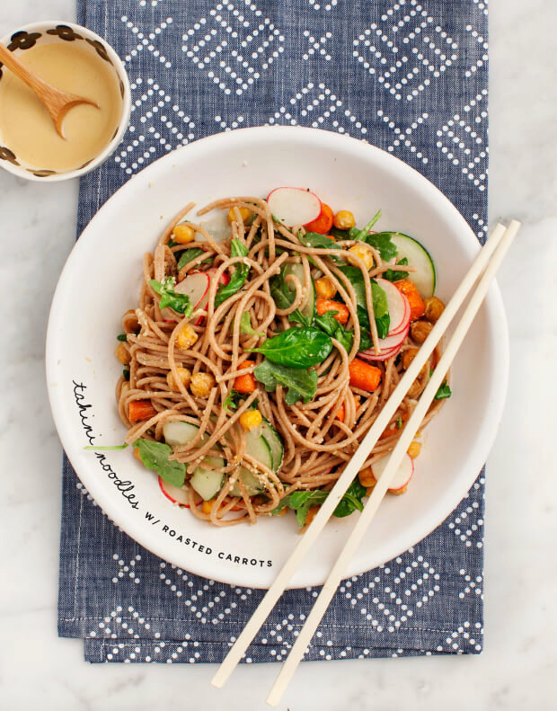 Tahini Noodles with Roasted Carrots & Chickpeas