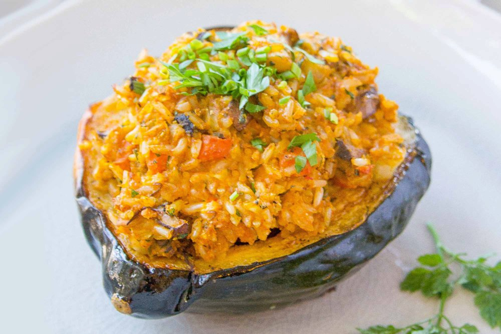 Vegan Stuffed Squash with Brown Rice and Mushrooms