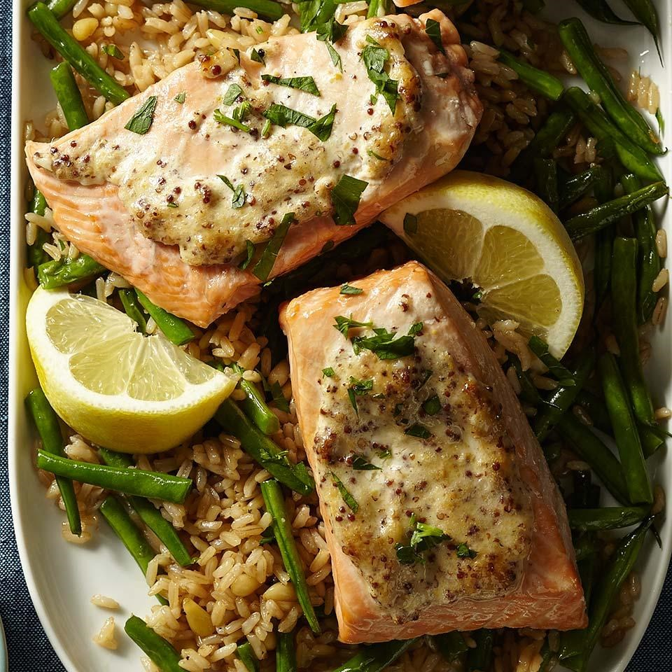 Dijon Salmon with Green Bean Pilaf
